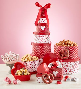 Hearts Afire Valentine Chocolate  Sweets Tower