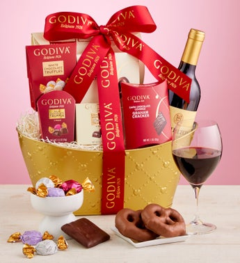 Golden Godiva Basket With Wine