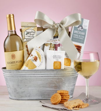 Delightful White Wine Gift Basket