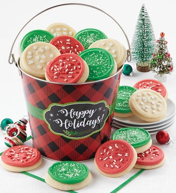 Happy Holidays Check Cookie Pail