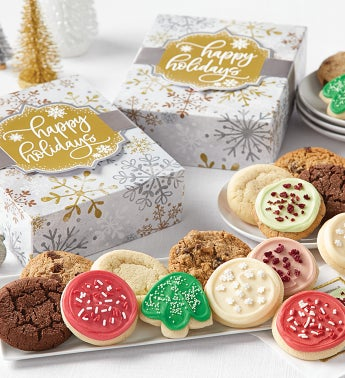 Happy Holidays Sparkling Cookie Gift Boxes - 24 Cookies