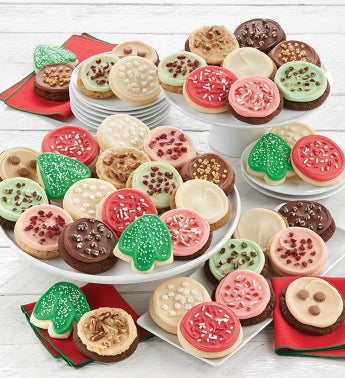Bow Gift Box - 12 Buttercream Frosted Holiday Cookies