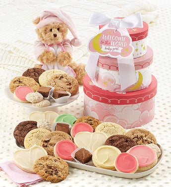 Welcome Baby Girl Gift Tower