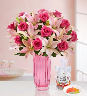 Magnificent Pink Rose  Lily Bouquet