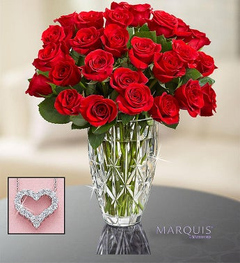 Two Dozen Red Roses in Marquis by Waterford Vase