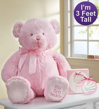 Pink My First Teddy by Gund with Hand Print Kit