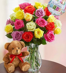 New Baby Celebration Assorted Roses, 12-24 Stems
