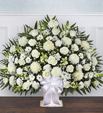 Heartfelt Tribute White Floor Basket Arrangement