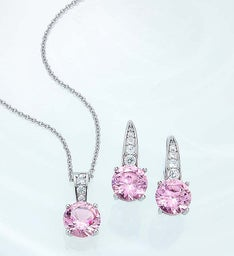 Crislu® Pink Serenity Pendant and Earrings