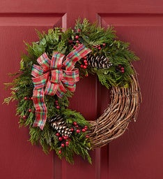 Preserved Plaid Holiday Wreath - 18