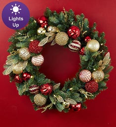 Shimmering Holiday Ornament Wreath and Centerpiece