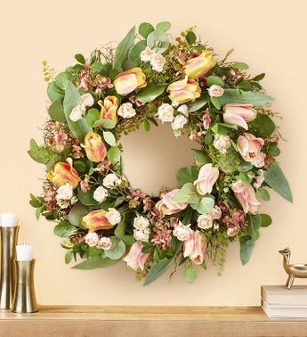 Peach Mini Rose  Tulip Wreath- 28
