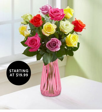 One Dozen Assorted Roses Starting at 1999