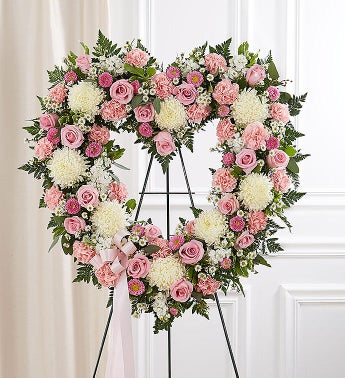 Always Remember Floral Heart Tribute - Pink  White