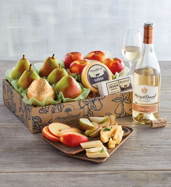Pears Apples and Cheese Gift with Wine