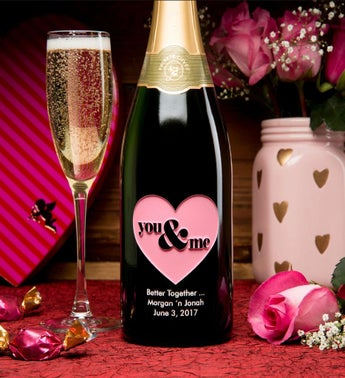 You  Me in Pink Personalized Wine Bottle