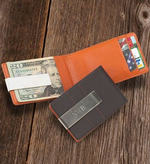 Personalized Leather WalletMoney Clip