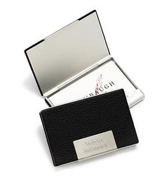 Black Leather Business Card Case