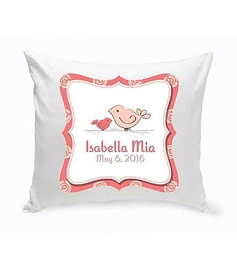 Personalized Baby Birdies Nursery Throw Pillow