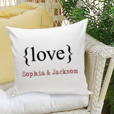 Typeset Love Personalized Throw Pillow