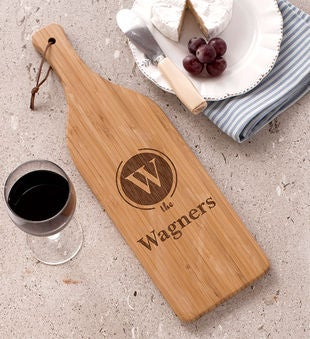 Initial Wine Bottle Cutting Board