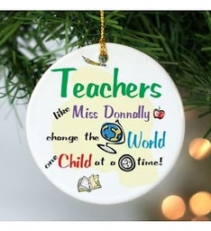 Personalized Teachers Round Ceramic Ornament
