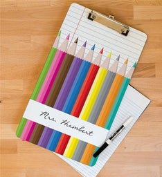 Personalized Colored Pencils Teacher Clipboard