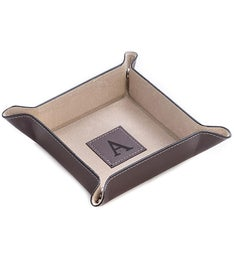 Personalized Brown Leather Square Valet