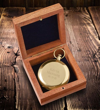 Personalized High Polish Gold Keepsake Compass