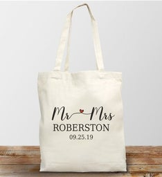 Personalized Mr and Mrs Canvas Tote