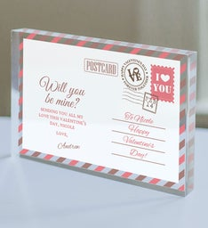 Personalized Be Mine Postcard Acrylic Keepsake