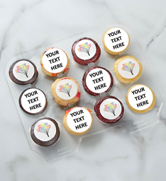 12-24 Mini Personalized Text Birthday Cupcakes