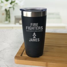 Personalized Firefighter Hero Black Tumbler