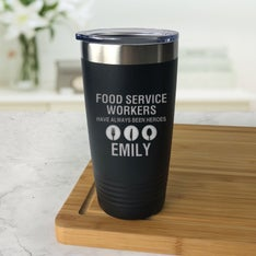 Personalized Food Service Hero Black Tumbler