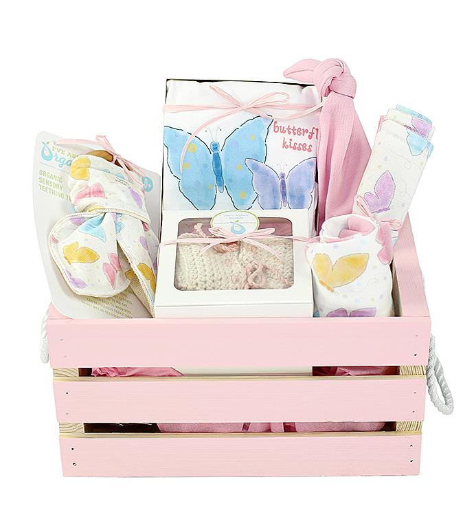 Organics Gift Basket in Pink Butterfly Kisses