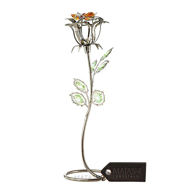 Gunmetal Rose Flower Tabletop Ornament