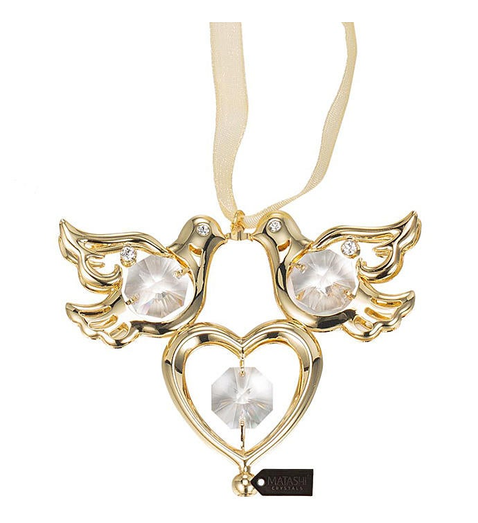 Gold Plated Crystal Love Doves Hanging Ornament