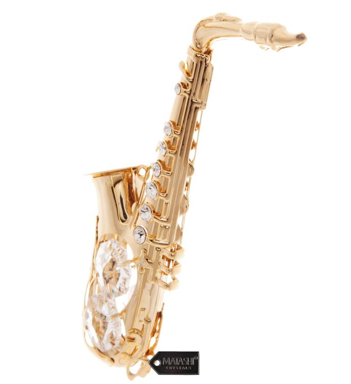 Gold Plated Crystal Saxophone Ornament