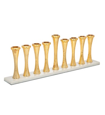 Gold Plated and  Marble Hanukkah Menorah