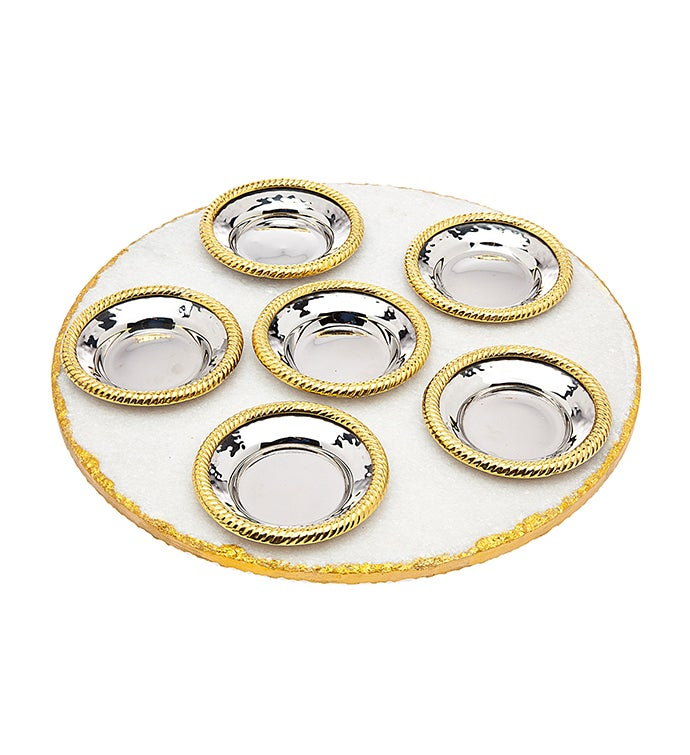 White Marble  Gold Seder Plate