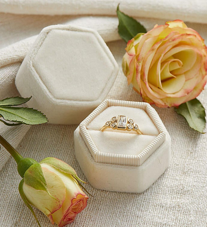 Hexagon Velvet Ring Box
