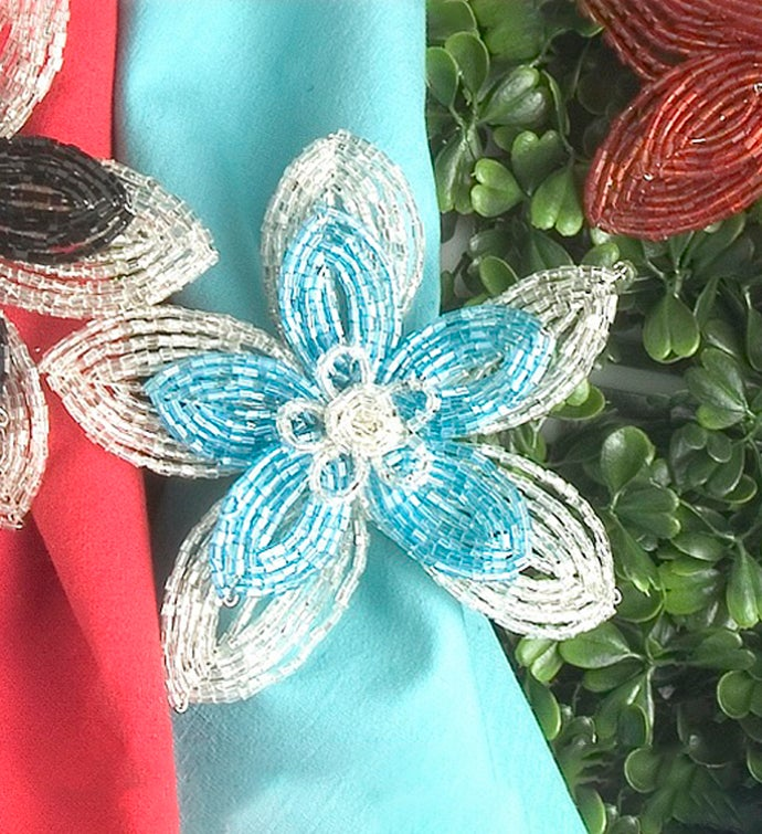 Set of Four Flat Beaded Flower Napkin Rings