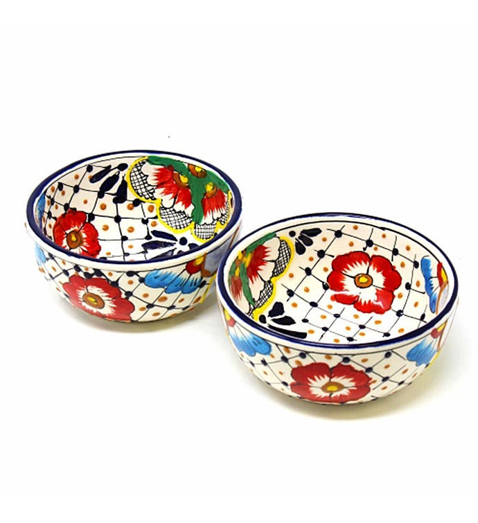 Half Moon Bowls - Dots and Flowers Set of Two