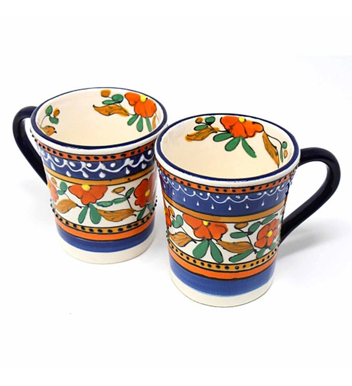 Hand-painted Mexican Talavera Mug Orange and Blue Set of Two