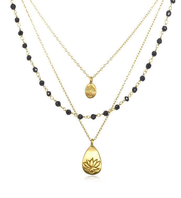 Onyx Gold Lotus Tree Triple Chain Necklace 18-inch