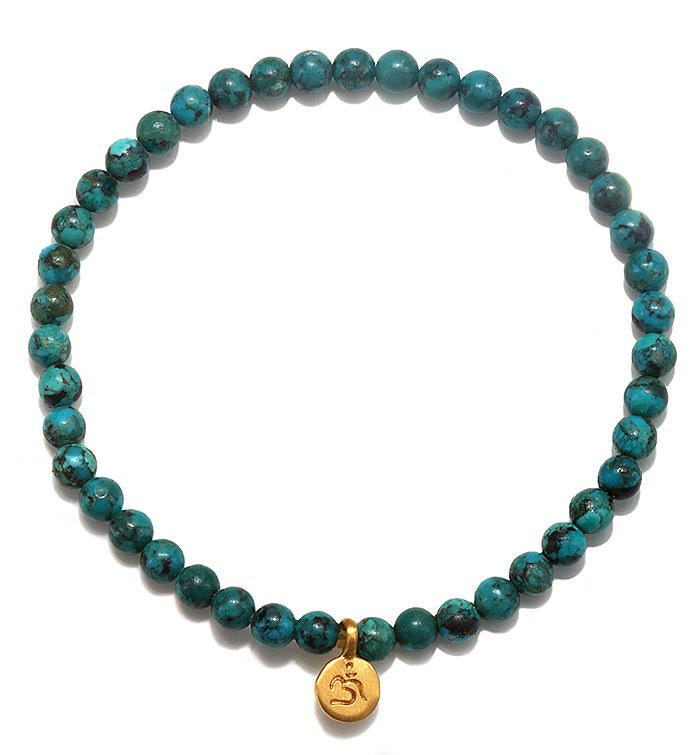 Turquoise Gold Mini Om Stretch Bracelet 4mm