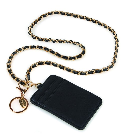 Coco Chain Id Lanyard Wallet In Black And Gold