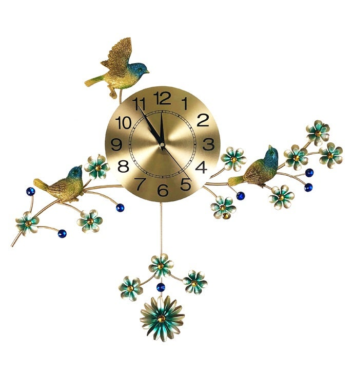 Wall Clock with 3 Birds
