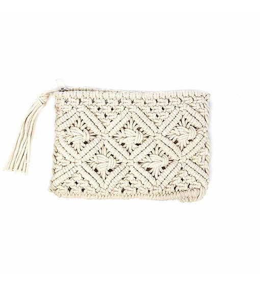 Handwoven Macrame Clutch With Tassel, Natural