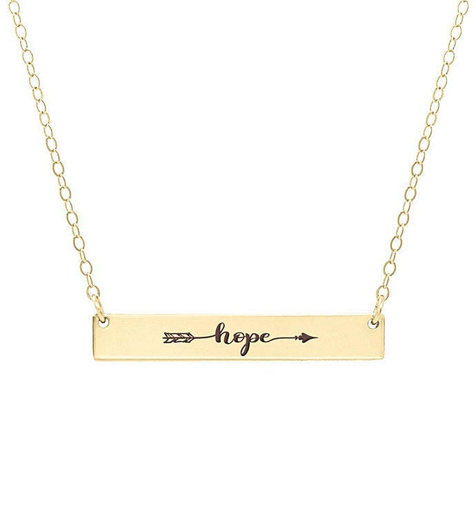 Hope Engraved Word Bar Necklace